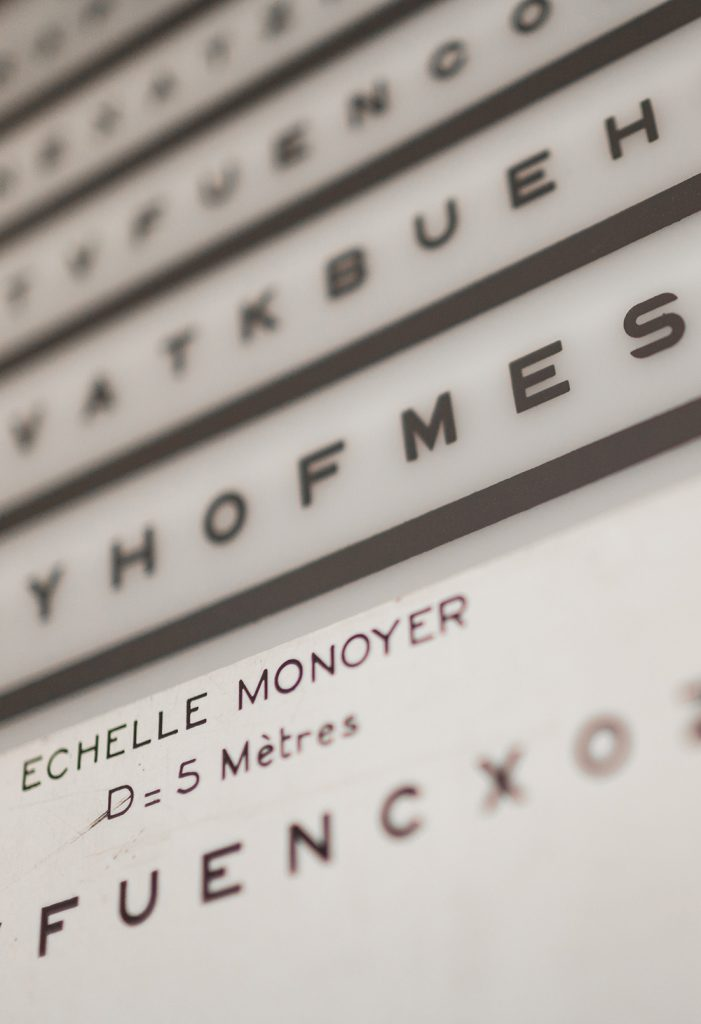 Tests de la vue opticien monoyer